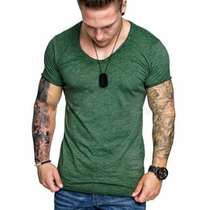 Mesh Pattern Body Fitted Round Neck Men T-Shirt - Green