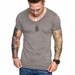Mesh Pattern Body Fitted Round Neck Men T-Shirt - Khaki