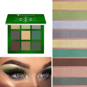 9 Colors Diamond Glitter Eyeshadow Matte - Green