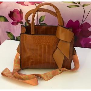 Medium Size Square Elegant Crossbody Bag - Brown