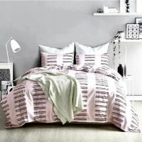 Stripe Design Duvet Cover Without Filler King Size 6 Pieces Set - Pink