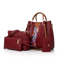 Set Of 4Pcs Synthetic Leather Large Capacity Women Hand Bag - Wine Red