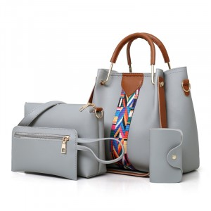 Set Of 4Pcs Synthetic Leather Large Capacity Women Hand Bag - Gray