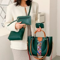 Set Of 4Pcs Synthetic Leather Large Capacity Women Hand Bag - Green