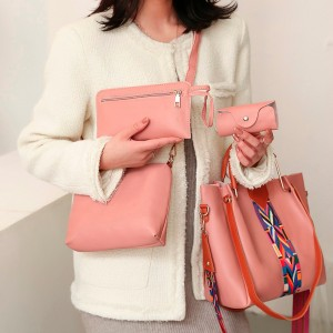 Set Of 4Pcs Synthetic Leather Large Capacity Women Hand Bag - Pink