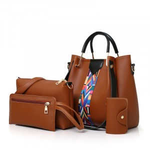 Set Of 4Pcs Synthetic Leather Large Capacity Women Hand Bag - Brown