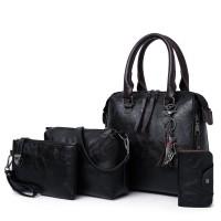 Set Of 4Pcs Synthetic Leather Large Capacity Women Bag - Black