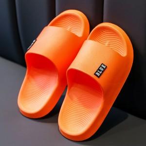 Home Wear Solid Color Flat Wear Rubber Slippers - Orange