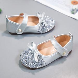 Sequins Button Closure Deco Party Wear Girls Sandals - Silver