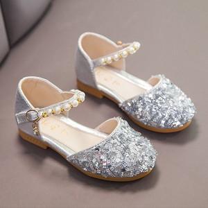 Sequins Buckle Closure Deco Party Wear Girls Sandals - Silver