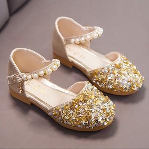 Sequins Buckle Closure Deco Party Wear Girls Sandals - Golden