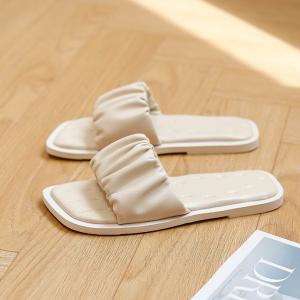 Ruffled Fancy Solid Color Flat Wear Slippers - White