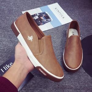 Slip Over Casual Sober Flat Wear Shoes - Khaki