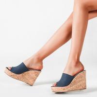 Wedge Slip Over Open Style Platform Sandals - Blue
