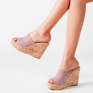 Wedge Slip Over Open Style Platform Sandals - Pink