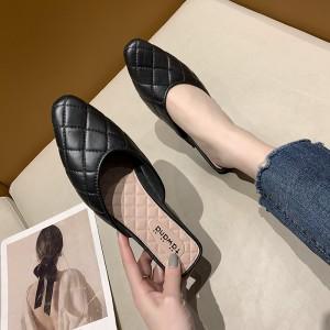 Geometric Patchwork Flat Wear Mule Slippers - Black