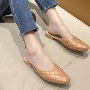 Geometric Patchwork Flat Wear Mule Slippers - Khaki