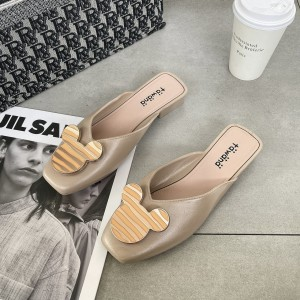 Mickey Carved Flat Wear Square Toe Mule Slippers - Khaki