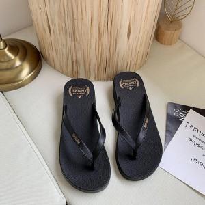 Rubber Sole Casual Wear Flip Flops - Black