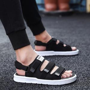 Velcro Closure Flat Wear Women Fashion Sandals - Black