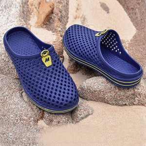 Hollow Breathable Plastic Flat Wear Slippers - Blue