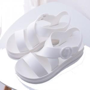 Buckle Closure Cross Strap Flat Sandals - White