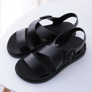 Buckle Closure Cross Strap Flat Sandals - Black