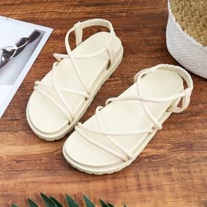 Elastic Slip Over Strap Flat Vintage Sandals - Khaki