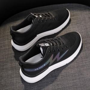 Lace Closure Flat Sole Sports Wear Sneakers - Black