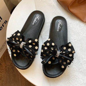 Polka Dots Print Bow Patched Slippers - Black