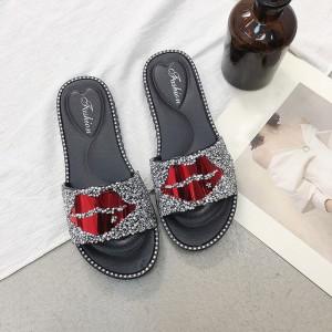 Glittery Patched Flat Wear Women Fashion Slippers - Silver