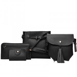 Set Of 4Pcs Synthetic Leather Zipper Closure Women Bags - Black