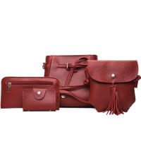 Set Of 4Pcs Synthetic Leather Zipper Closure Women Bags - Red