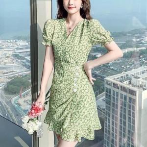Bubble Sleeve Daisy Floral V Neck Girls Dress - Green