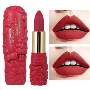 Waterproof Solid Color Round Tube Women Matte Lipstick 06 - Red