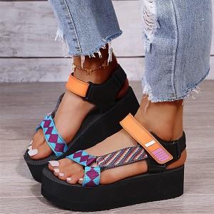 Velcro Closure Platform Thick Sole Sandals - Orange