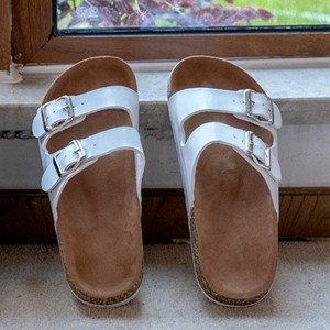 Buckle Style Flat Wear Casual Slippers - White