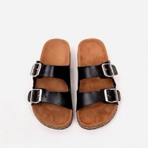Buckle Style Flat Wear Casual Slippers - Black