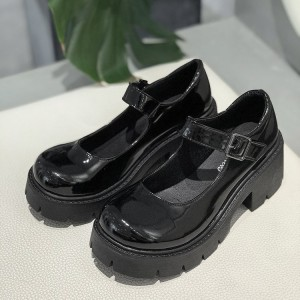 Solid Color Shiny Buckle Closure Women School Shoes - Black
