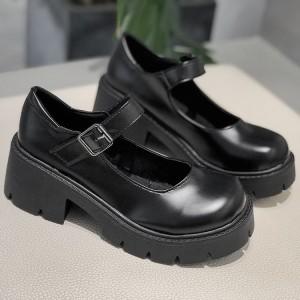 Buckle Closure Solid Color Women School Shoes - Black