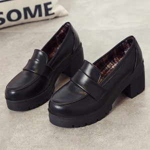 Slip Over Synthetic Leather Round Toe Shoes - Black