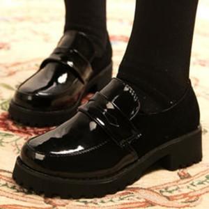 Slip Over Shiny Round Toe Shoes - Black