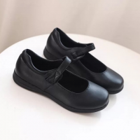Velcro Closure Round Toe School Shoes - Black