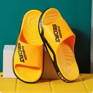 Sports Printed Casual Wear Slippers - Yellow
