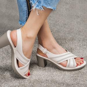 Cross Strap Slip Over Solid Color Heel Sandals - White