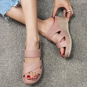 Cross Strap Slip Over Solid Color Heel Sandals - Pink
