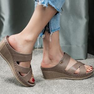 Cross Strap Slip Over Solid Color Heel Sandals - Khaki