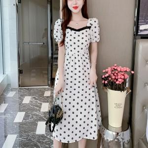 Square Collar Temperament Flowers Printed Women Dress - White