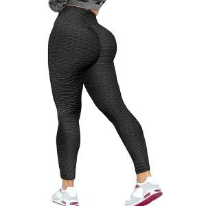 Mesh Pattern Body Fitted Sports Wear Narrow Bottom Trouser - Black