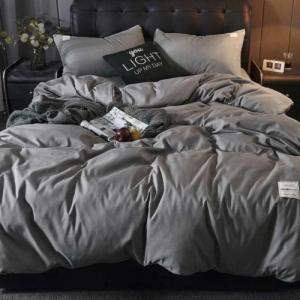 Plain Grey Color Without Filler 4 Pieces Single Size Bedding Set